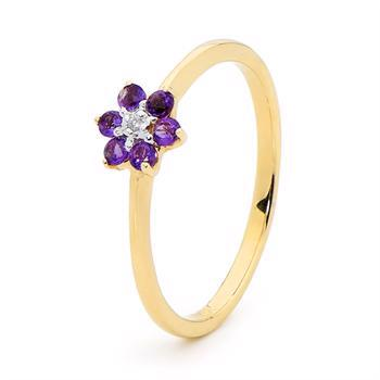Elegant multi hjerte ring med diamanter og Amethyst