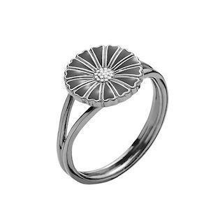 Model 907011-S-RH, fingerring sort rhodineret fra Lund Copenhagen i 925 sterling sølv