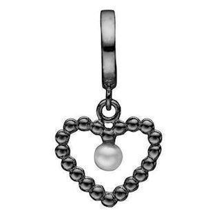 Model 610-B59, Bubbly Pearl Love Sort rhodineret bobbel hjerte med lille perle fra Christina Collect i 925 sterling sølv