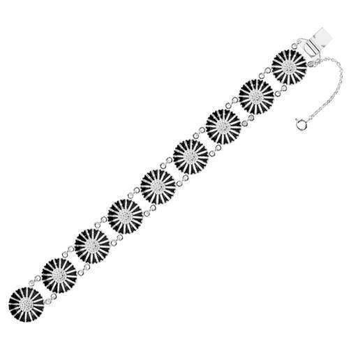 af123726b35 Lund armbånd i sølv med sort emaljeret med 9 x 18 mm Margueritter