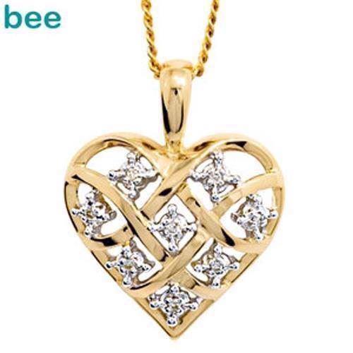 a6676c76f0d Guld hjerte vedhæng med 8 x 0,005 ct diamant
