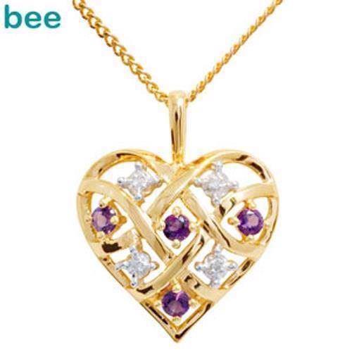 db616634667 Guld hjerte vedhæng med 4 x 0,005 ct diamant og 4 x Amethyst